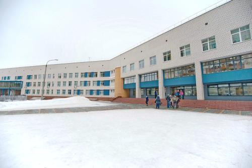 Школа зимой. Центральный вход.